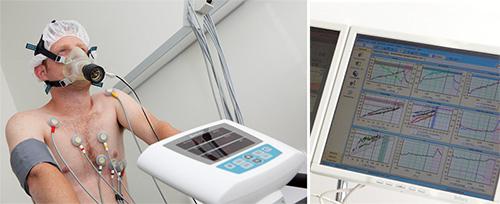 links: Leistungs-EKG: Messung der Lungen und Herzfunktion bei Anstrengung rechts: grafische Darstellung der Testergebnisse
